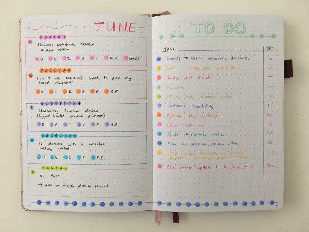 Rainbow Weekly Spread Using Dot Markers