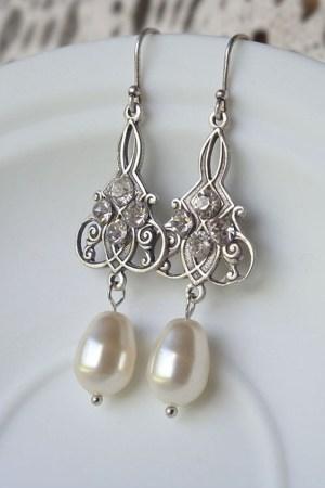 Bridal Earrings   Antique Silver Swarovski Wedding Earrings