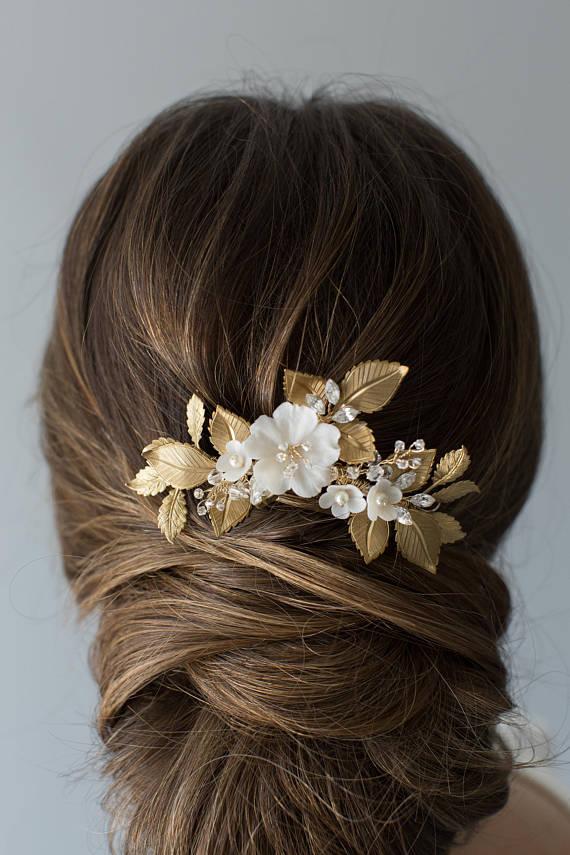 Flowering Bridal Hair Comb - OLIVE