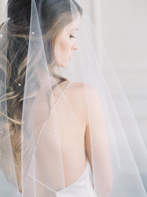 JASMINE - Crystal Wedding Veil with Blusher