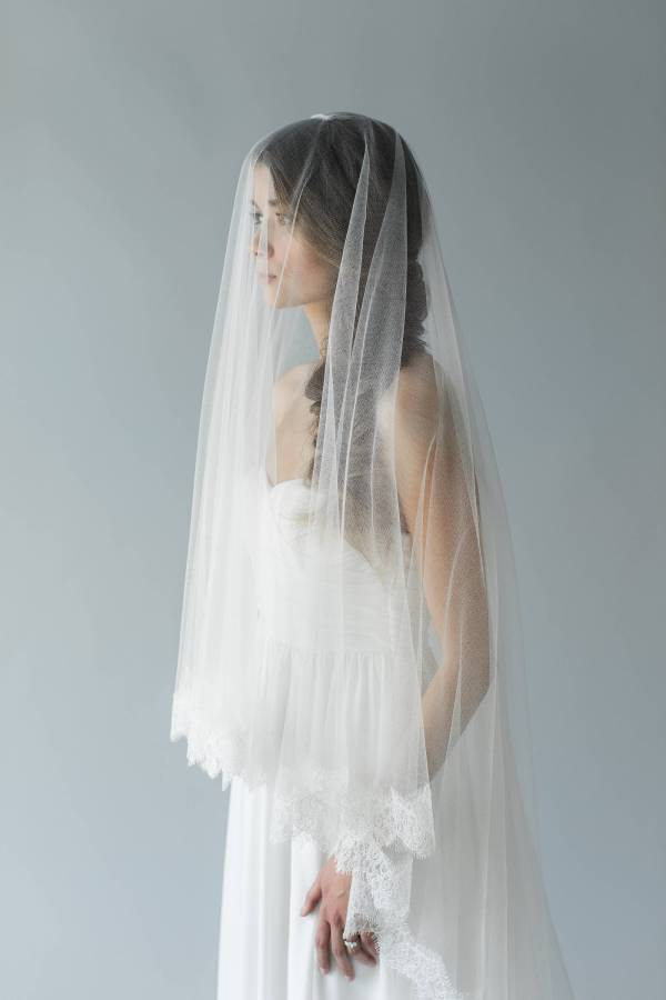 Lace Silk Tulle Drop Veil | IVY