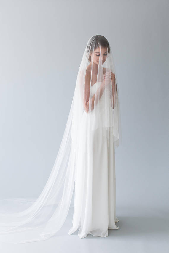 Silk tulle drop veil with blusher | AMORE