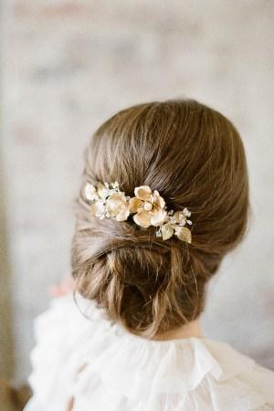 Brass Flower and Leaves Bridal Comb   SOMNER