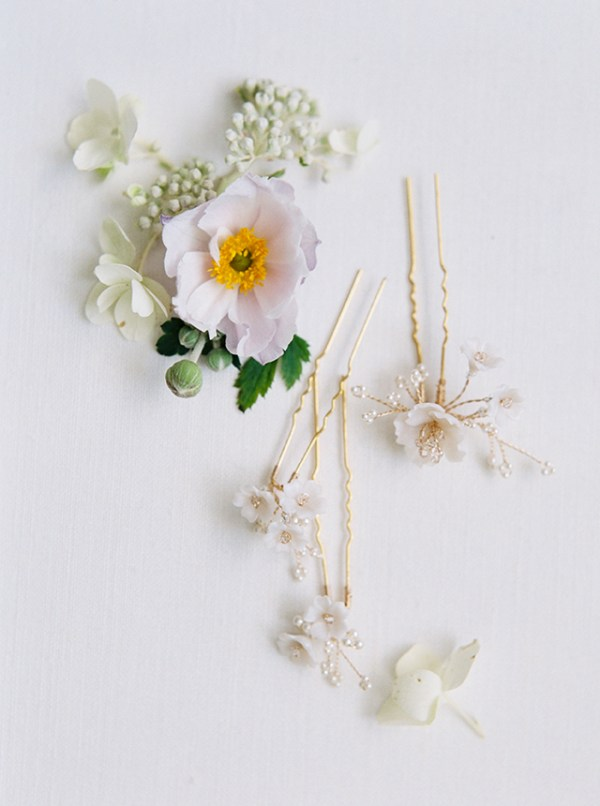 floral bridal hair pins, wedding hair pins, wedding hair piece