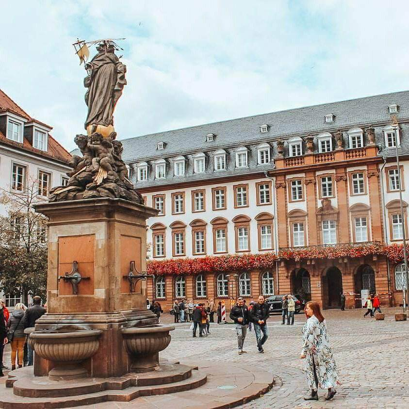 Kornmarkt square in the old town of Heidelberg Germany