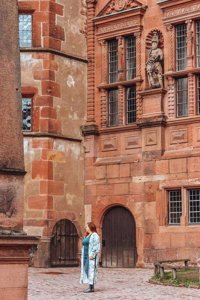 Ornate details on Heidelberg Castle in Germany