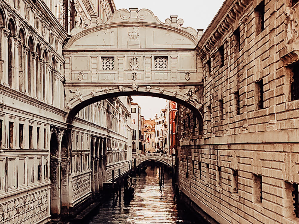 The Bridge of Sighs in Venice Italy