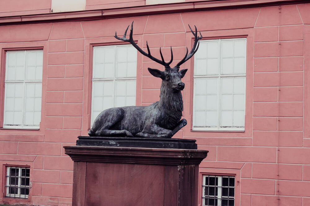 Stag statue outside the castle in Erbach Odenwald