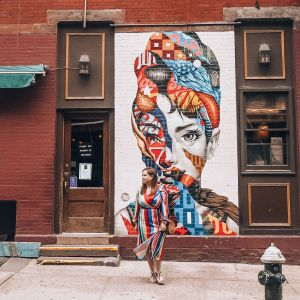 The most instagrammable places in New York. Audrey Hepburn mural at 176 Mulberry Street, Little Italy, New York