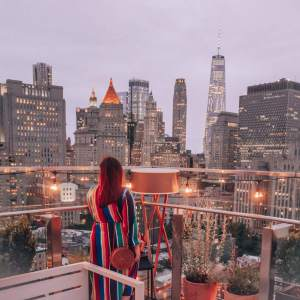 The most instagrammable places in New York. The view from the rooftop bar The Crown at Hotel 50 Bowery, Chinatown, New York