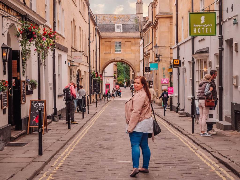 Woman exploring the georgian streets of Bath UK