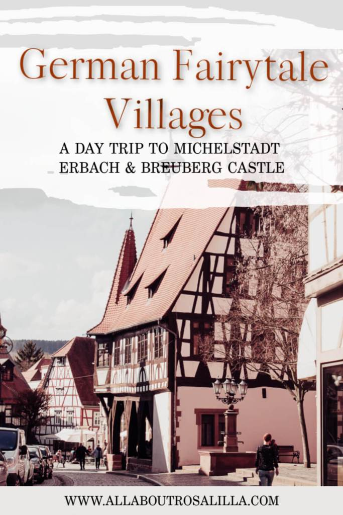 Fairytale village of Michelstadt in Odenwald Germany with text overlay