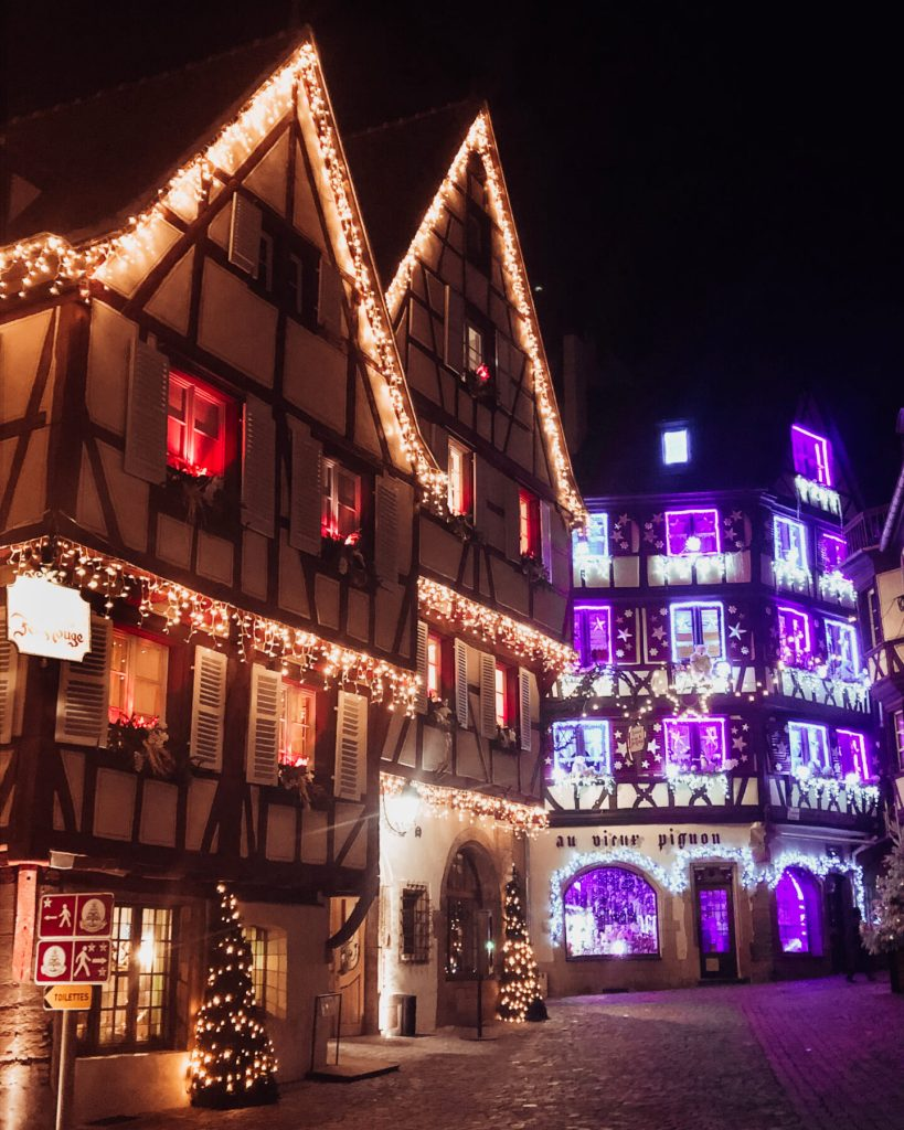 Christmas lights on the buildings of Colmar Alsace France.