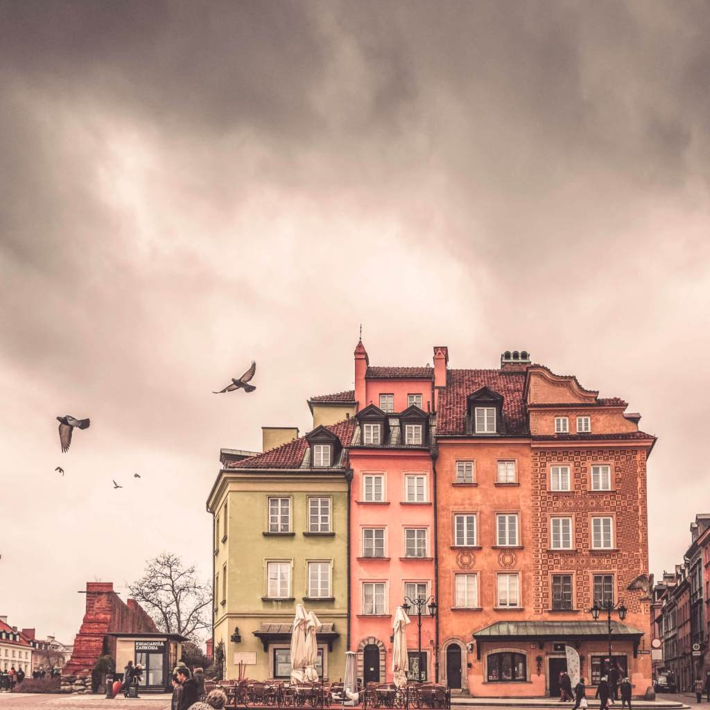 Colourful buildings in Warsaw's main square