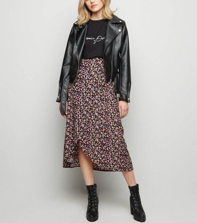 Black bright floral wrap midi skirt from New Look