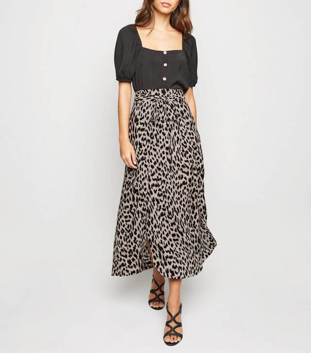 Brown Leopard Print Belted Wrap Midi Skirt