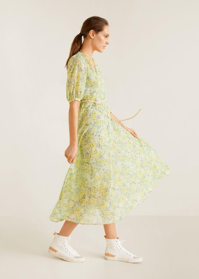 Mango Floral Printed Midi Dress