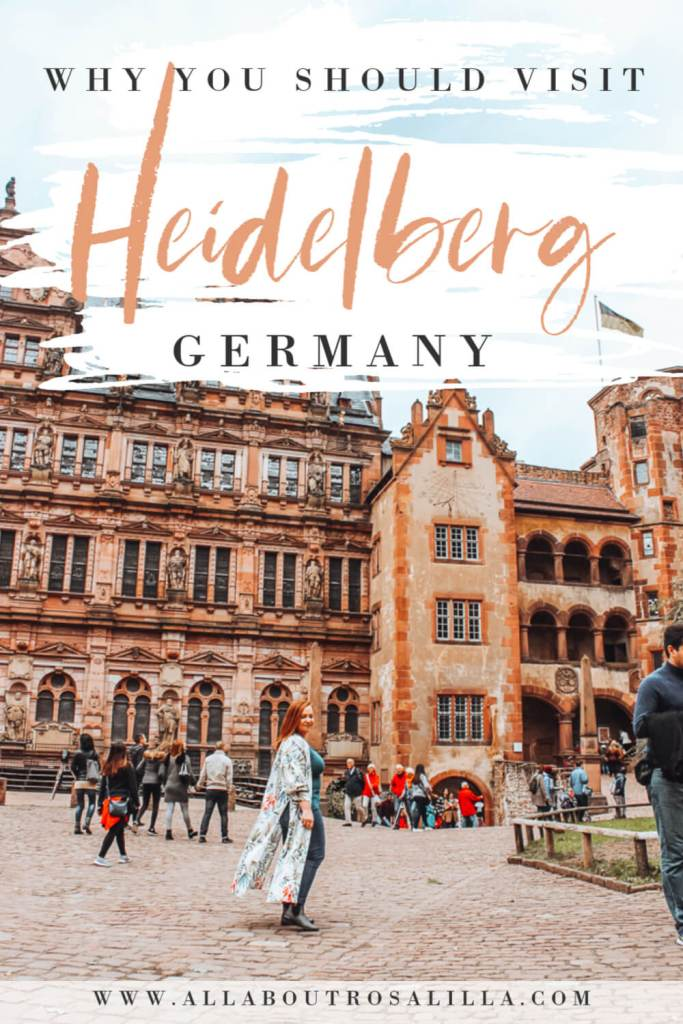 Image of Heidelberg castle with text overlay how to spend one day in Heidelberg germany