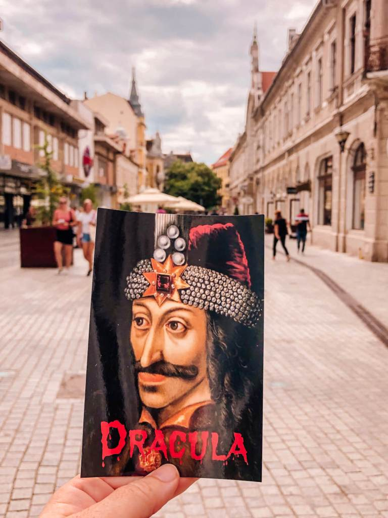 Postcard of Dracula in Sighisoara the birthplace of Vlad the Impaler