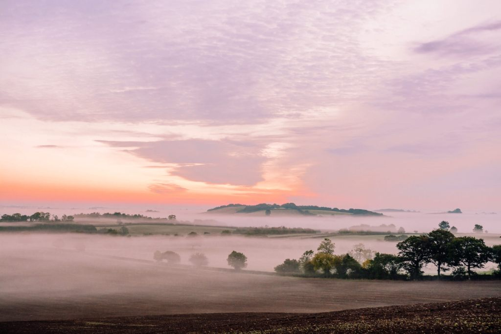 Fog over the Cotswolds Countryside