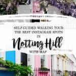 Pretty pastel houses in Notting Hill London with text overlay