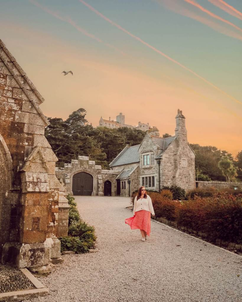 The castle at sunset on St. Michael's Mount in Cornwall UK. Read more on www.allaboutrosalilla.com