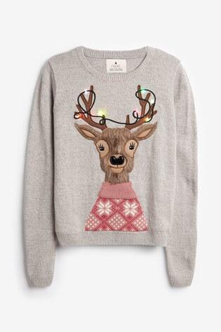 Next Light up Grey Deer Christmas Jumper