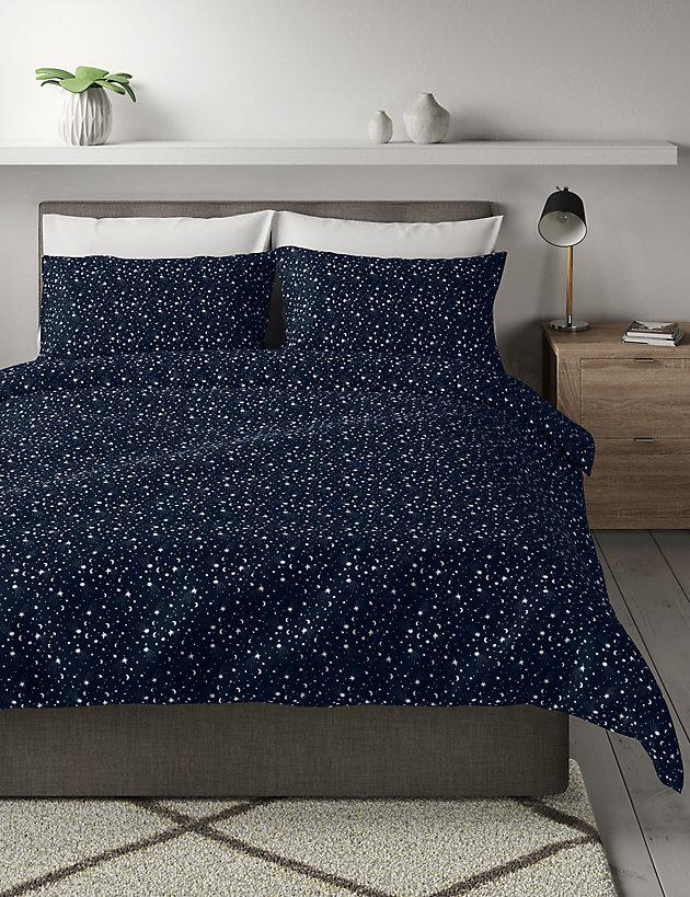 Marks & Spencer Brushed Cotton Star and Moon Duvet Set