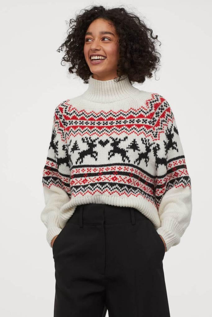 H&M Conscious range knitted turtleneck christmas jumper