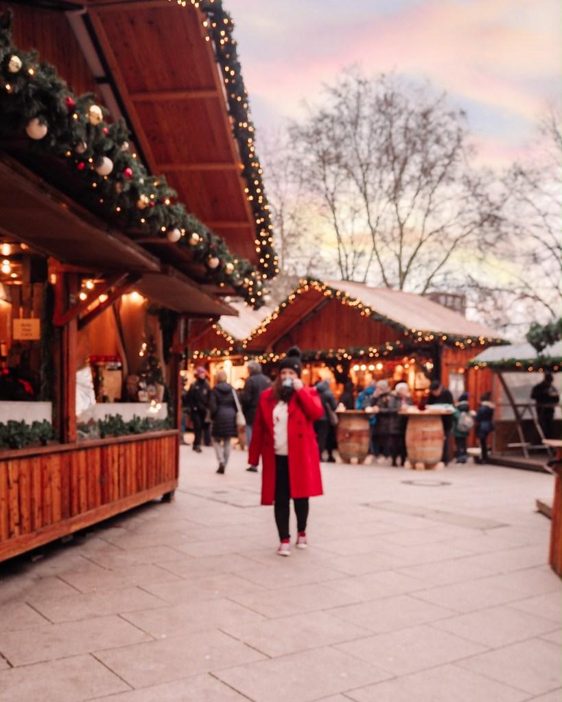 Rustic wooden huts at the Hamburg Christmas Market