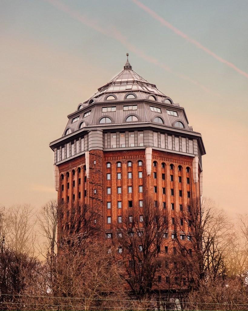Water tower Schanzenturm that has now been converted into the a beautiful Mövenpick hotel