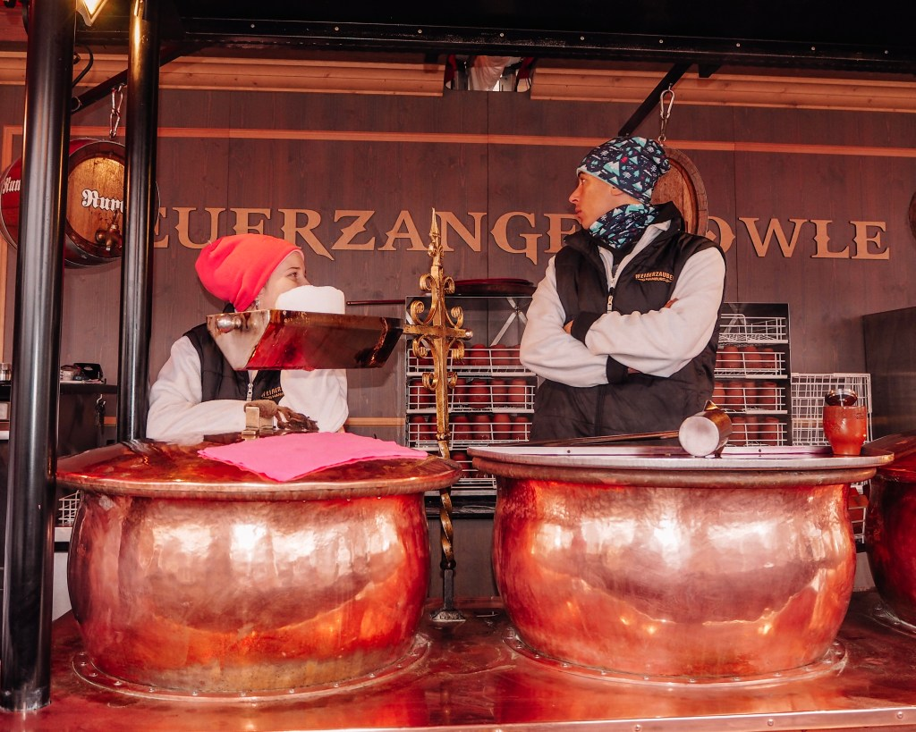 Traditional Feuerzangenbowle an alcoholic drink for which a rum-soaked sugarloaf is set on fire and drips into mulled wine