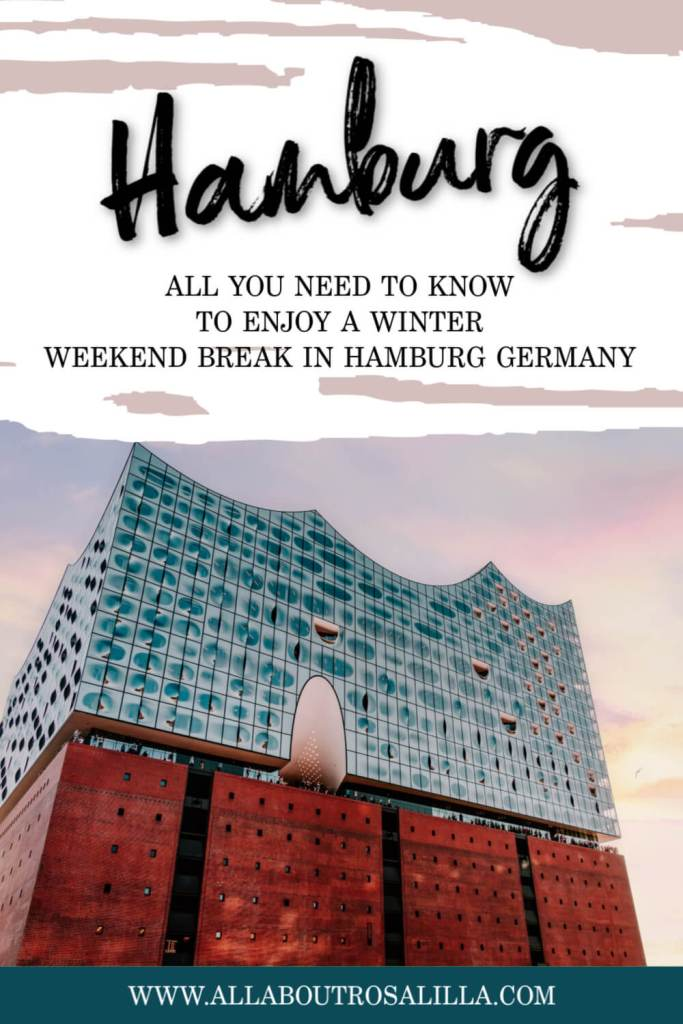 Elbphilharmonie building in Hamburg at sunset with text overlay