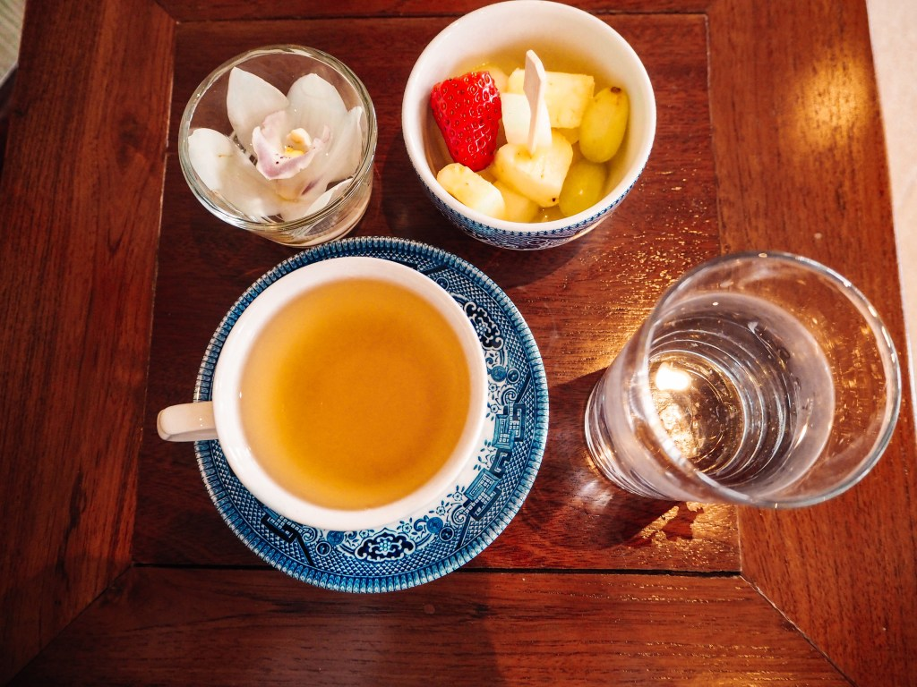 Post treatment treats of water, herbal tea and fresh fruit left on the table of the relaxation room in the Thai Spa at Lough Erne Hotel.
