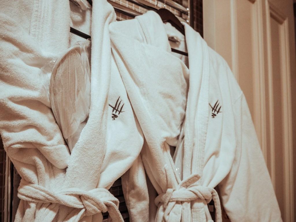 Monogrammed Fluffy white bathrobes at Lough Erne Resort in Northern Ireland
