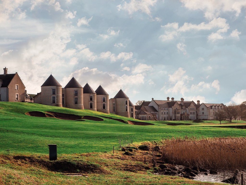 Turret syle lodges dotted along the waterway of Lough Erne