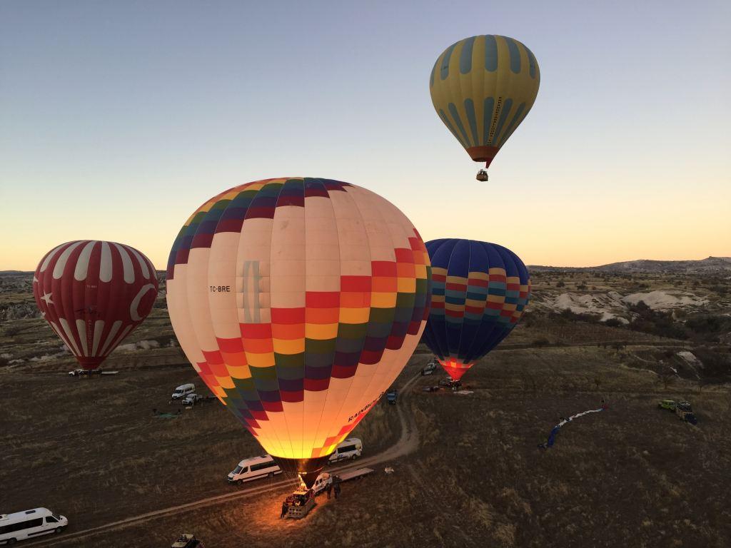 Hot air balloons rising over Cappadocia Turkey