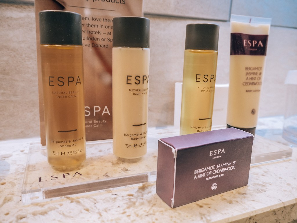 ESPA toiletries In the bathroom of the Grand Central Hotel Belfast