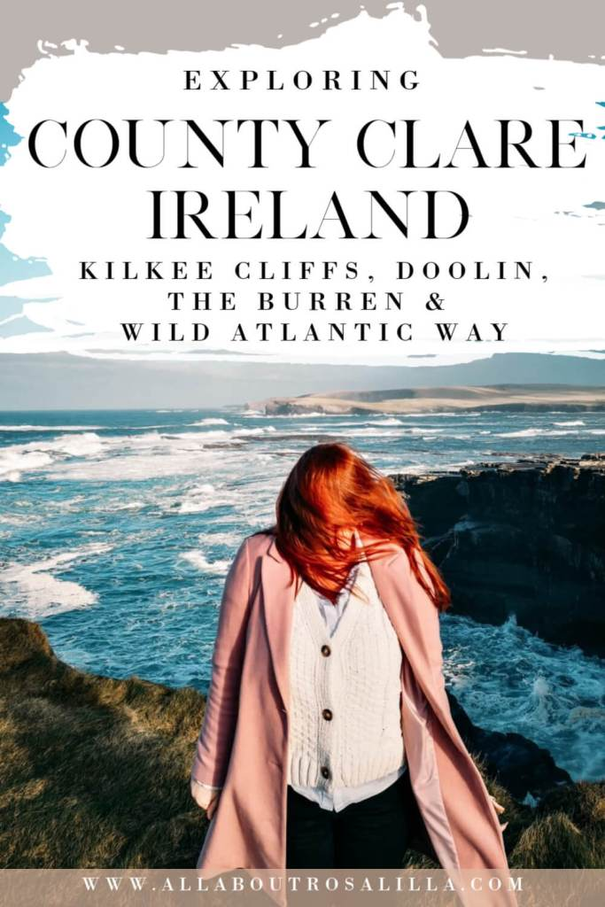 Woman with red hair standing at Kilkee Cliffs in County Clare with text overlay