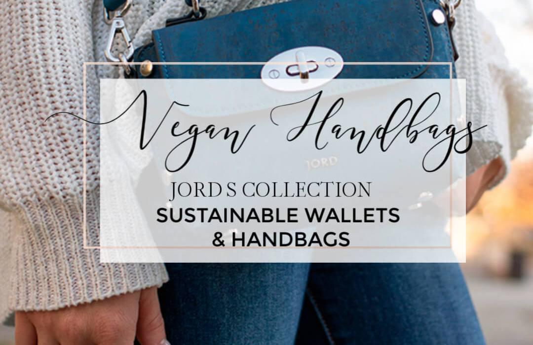 Blue vegan leather handbag with text overlay