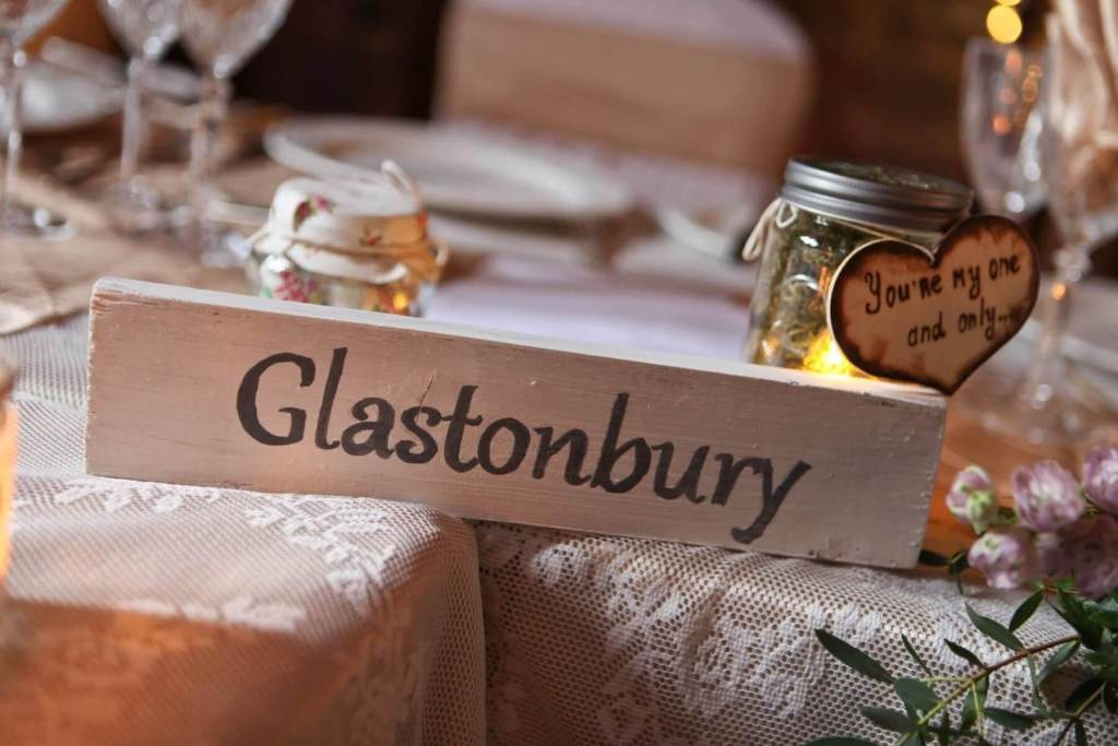 Wedding table named after Glastonbury music festival