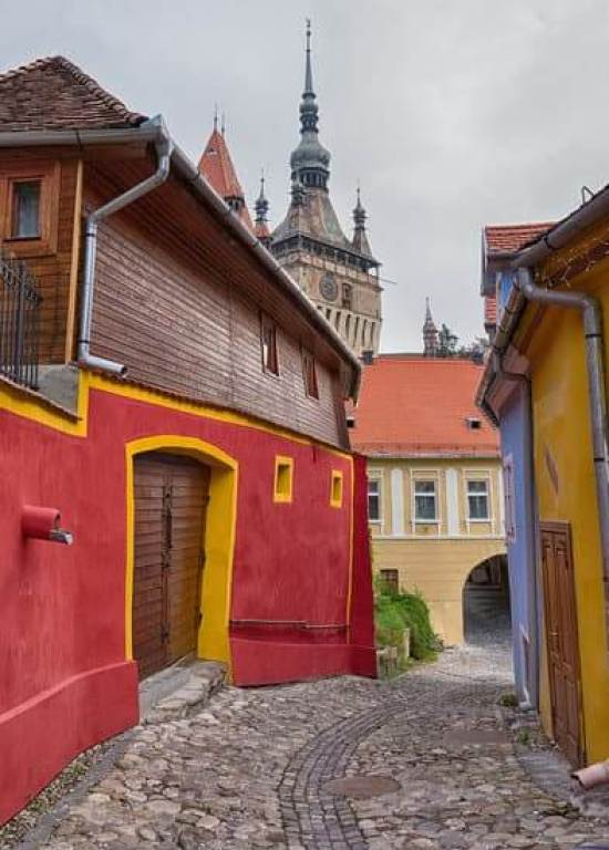 One of the best things to do in Sighisoara is simply wander its colourful streets. Alley in Sighisoara, world heritage site in Romania.