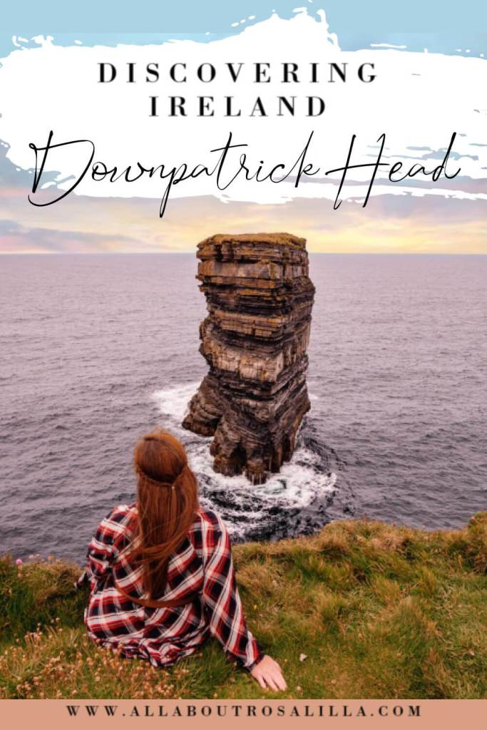 Image of Downptrick Head Mayo with text overlay things to do in Ireland. Downpatrick Head