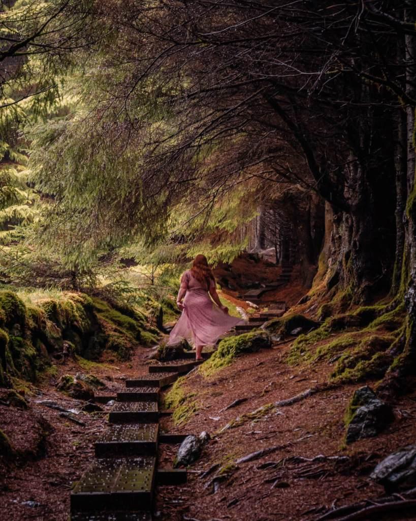 Woman in a purple dress walking through the fairytale Ballinastoe woods in Wicklow Ireland