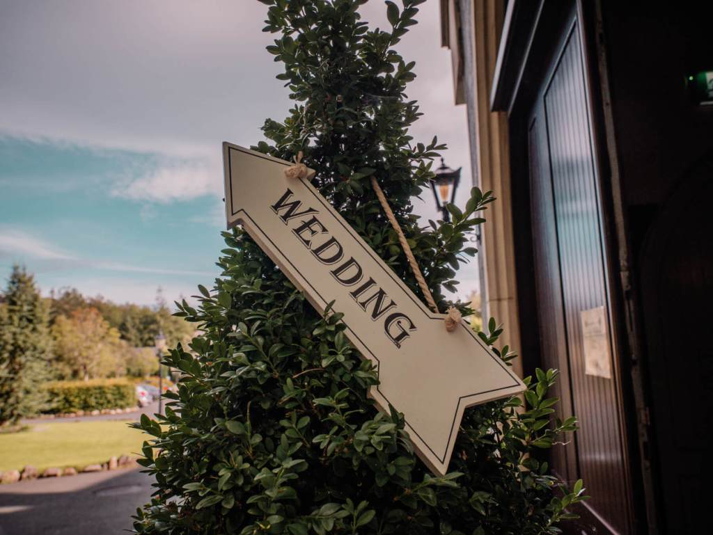 Wedding Sign at Brooklodge Hotel Ireland