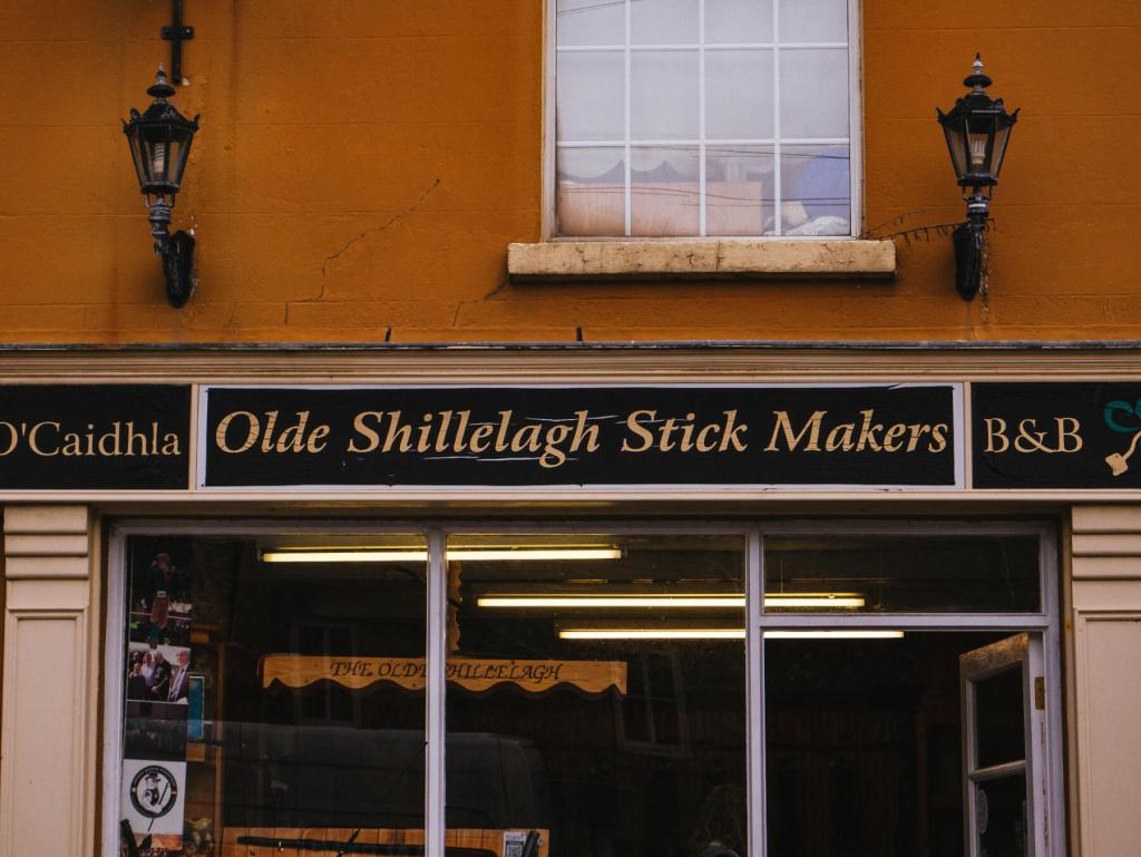 Exterior of the Olde Shillelagh Stck Makers Shop in Shillelagh Wicklow