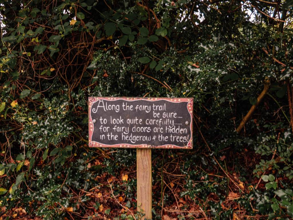 Sign for fairies on a woodland nature trail for kids at Greenan Maze Wicklow