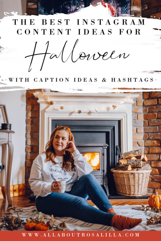 Girl sitting at a fireplace with text overlay Halloween Instagram Ideas