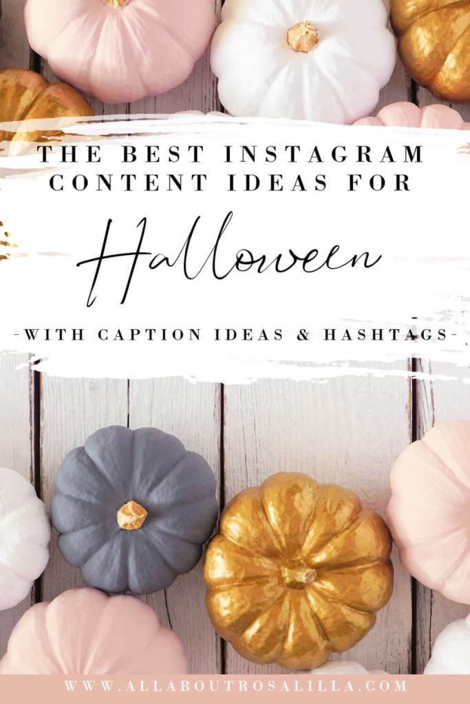 Image of pastel pumpkins with text overlay Halloween Instagram Ideas