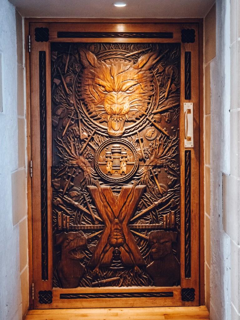 Game of thrones door in Ballygally Castle in Northern Ireland